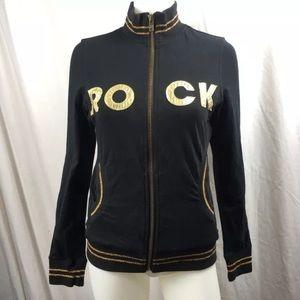 Rock & Republic Track Jacket Velour Black Gold